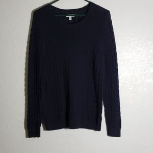 Blue Cable Weave sweater large 100% cotton